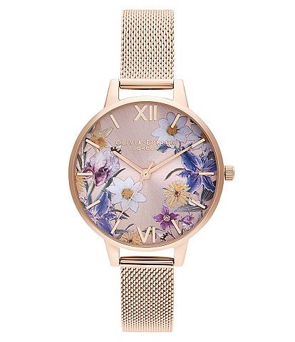 Olivia Burton Best In Show Blush Sunray & Pale Rose Gold Mesh Watch