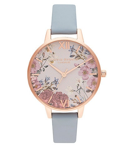 Olivia Burton British Blooms Chalk Blue and Rose Gold Watch