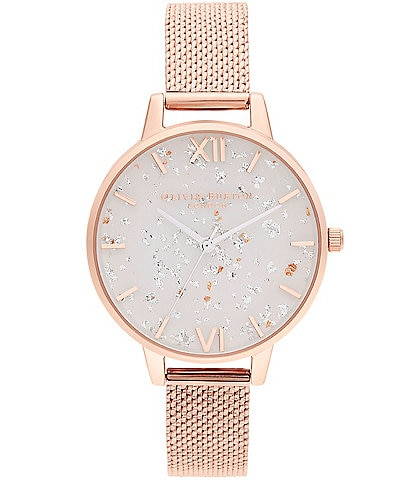 Olivia Burton Celestial Rose Gold Boucl Mesh Watch
