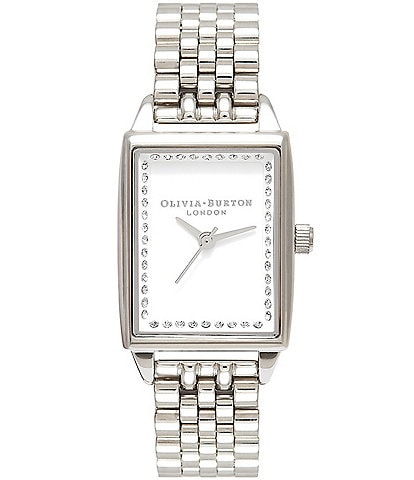 Olivia Burton Classic Sparkle Tank Silver Bracelet Watch