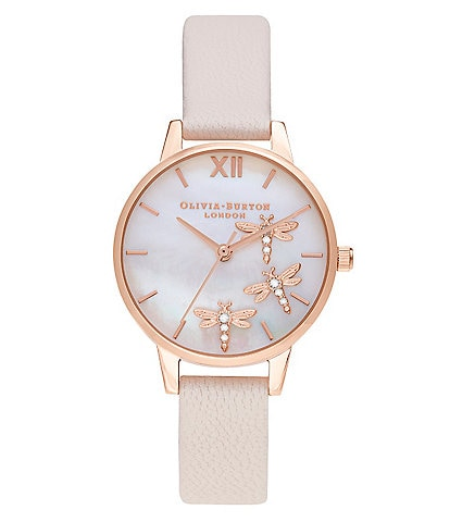Olivia Burton Dancing Dragonfly Swarovski Crystal Leather Strap Watch