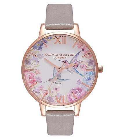 Olivia Burton Demi Hummingbirds Grey & Rose Gold Watch