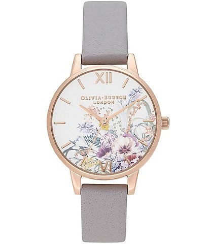 Olivia Burton Enchanted Garden Gray Lilac & Pale Rose Gold Analog Watch