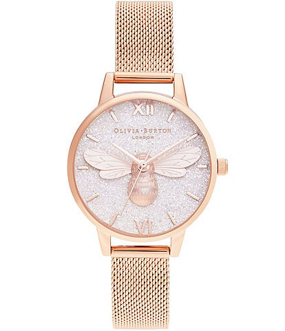 Olivia Burton Glitter Dial Lucky Bee Rose Gold Mesh Watch