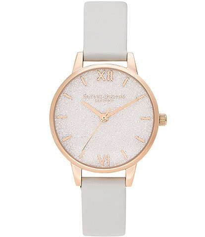 Olivia Burton Glitter Dial Vegan Blush & Pale Gold Watch
