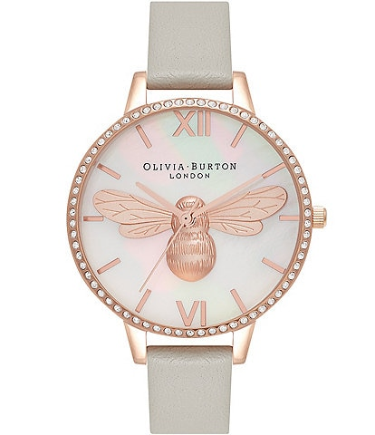 Olivia Burton Grey And Rose Gold Sparkle Watch