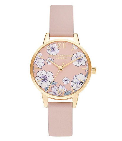 Olivia Burton Groovy Blooms Pink Strap Quartz Analog Watch