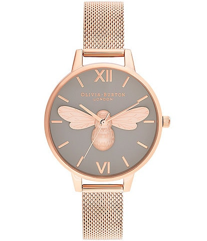 Olivia Burton Lucky Bee Grey Dial & Rose Gold Mesh Watch