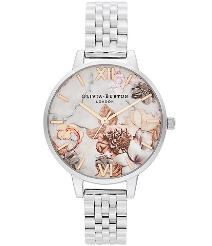 Olivia Burton Marble Floral Collection Stainless Steel Bracelet Watch
