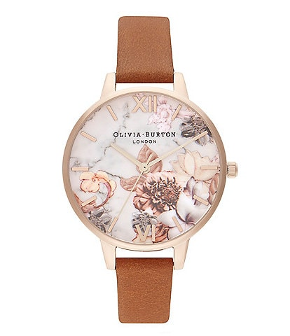 Olivia Burton Marble Florals Honey Tan & Rose Gold Watch