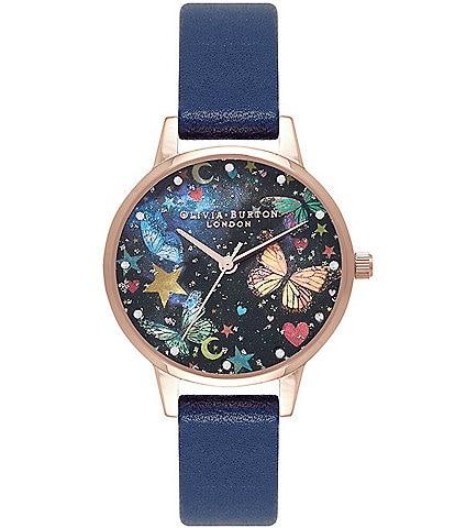 Olivia Burton Midi Night Garden Butterflies Navy & Rose Gold Watch