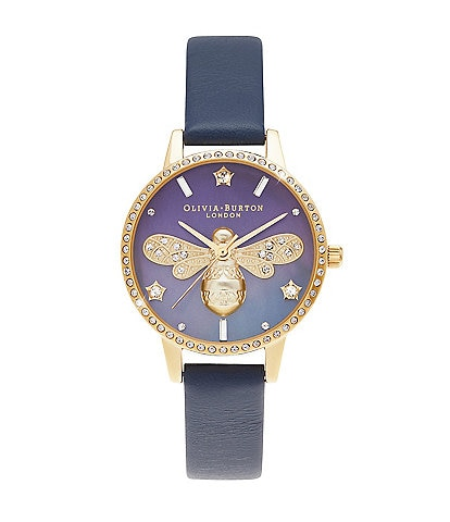 Olivia Burton Mother Of Pearl Midi Dial Navy & Gold Watch