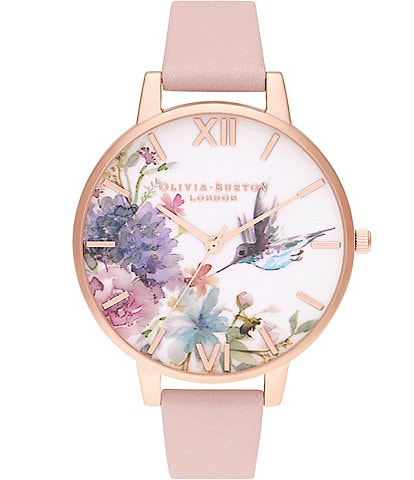 Olivia Burton Painterly Prints Big Dial Dusty Pink & Rose Gold Leather Strap Watch