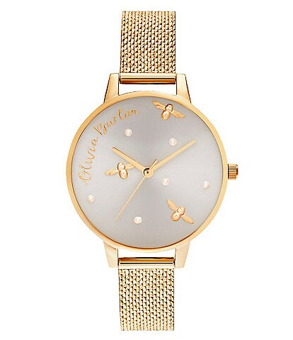 Olivia Burton Pearly Queen Gold Boucle Mesh Bracelet Watch