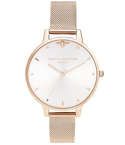 Olivia Burton Queen Bee Blush Sunray & Pale Rose Gold Mesh Watch