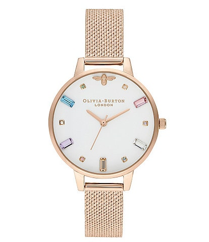 Olivia Burton Rainbow Bee Pale Rose Gold Bouclé Mesh Watch