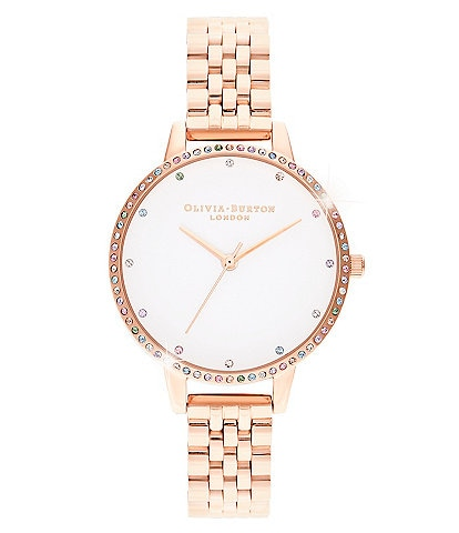 Olivia Burton Rainbow Bezel Rose Gold Bracelet Watch