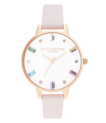 Olivia Burton Rainbow Blossom Rose Gold Leather Watch