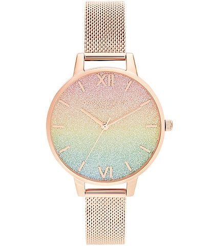 Olivia Burton Rainbow Glitter Dial & Rose Gold Mesh Watch
