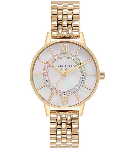 Olivia Burton Rainbow Sparkle Wonderland Gold Bracelet Watch