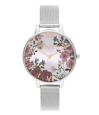 Olivia Burton Rose Gold and Silver Mesh Watch