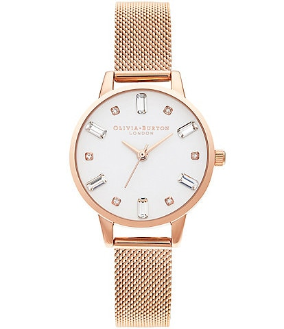 Olivia Burton Rose Gold Mesh Bejeweled Quartz Analog Watch