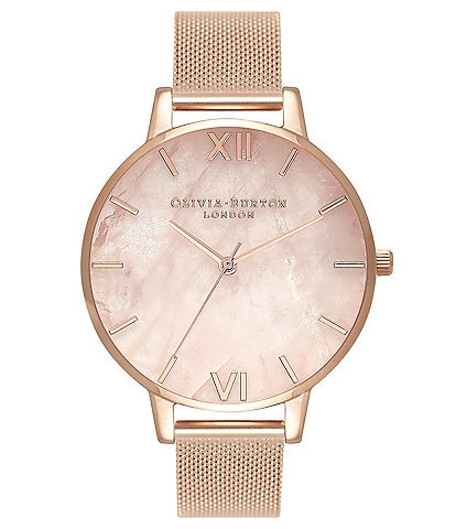 Olivia Burton Semi Precious Rose Gold Mesh Watch