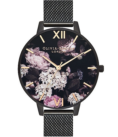 Olivia Burton Signature Florals IP Black Mesh Watch