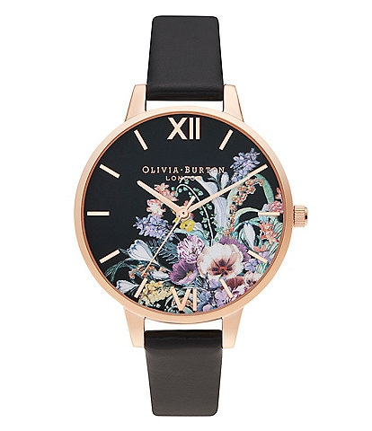 Olivia Burton Vegan Black & Rose Gold Enchanted Garden Watch
