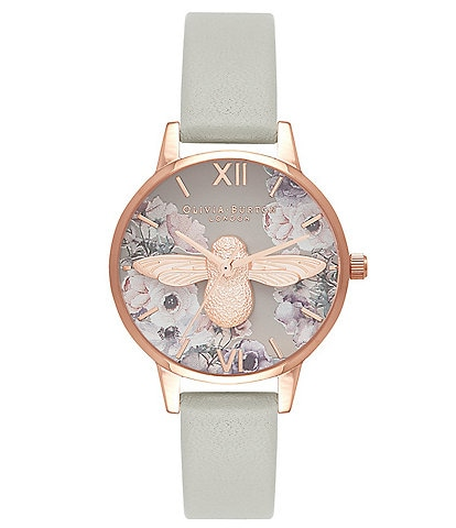 Olivia Burton Watercolour Florals Grey & Rose Gold Watch