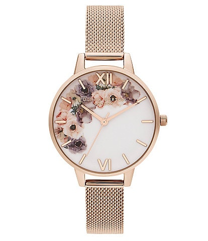 Olivia Burton Watercolour Florals Pale Rose Gold Mesh Watch
