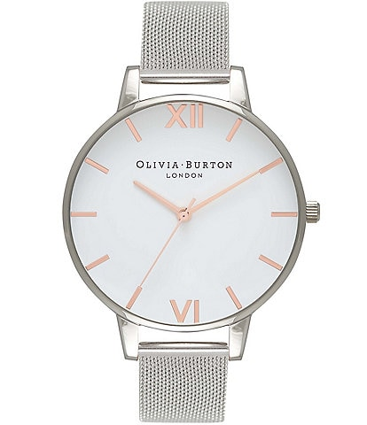ad793003b1e6 Olivia Burton White Dial Rose Gold   Silver Mesh Watch