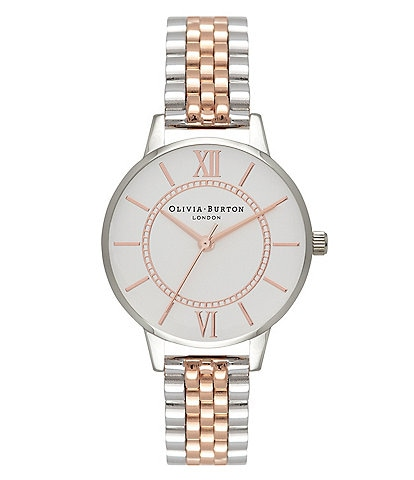 Olivia Burton Wonderland Bracelet Silver And Rose Gold Mix Watch