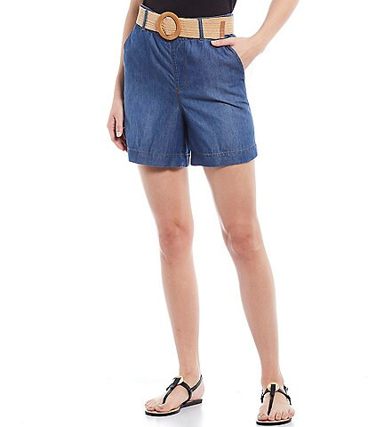 One 5 One Denim High Rise Belted Cotton Blend Short