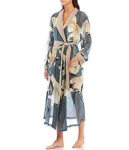 One Hundred Stars Slate Stork Print Woven Long Sleeve Long Robe