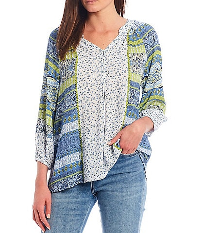 One World Apparel Blue Multi Twin Print Notch V-Neck 3/4 Bubble Sleeve Peasant Top