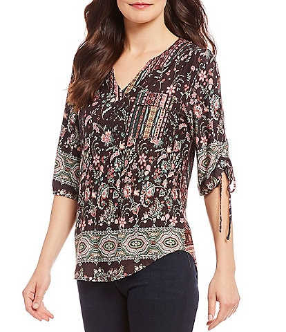 One World Apparel Petite Size Ruched Sleeve Floral Print Knit Blouse