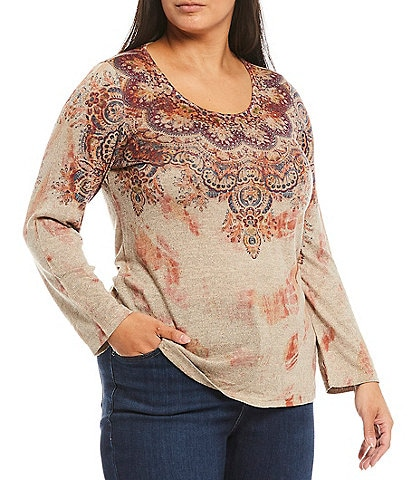 One World Apparel Plus Size Bohemian Culture Print Embellished Scoop Neck Long Sleeve Top