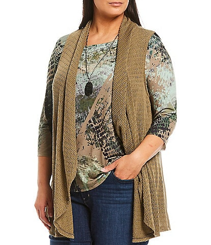 One World Apparel Plus Size City Graphic Print 3/4 Sleeve Sublimated Drape Detail Top with Necklace