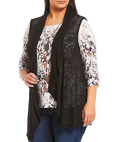 One World Apparel Plus Size Stoney Wash 3/4 Sleeve Sublimated Drape Detail Top with Necklace