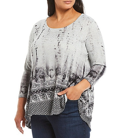 One World Apparel Plus Size Supreme Border Print 3/4 Sleeve Hi-Low Knit Top