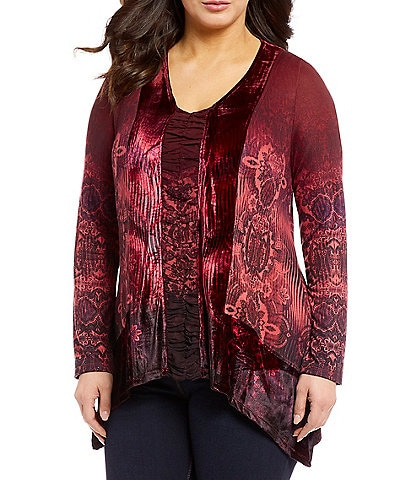One World Apparel Plus Velvet Shirred Printed V-Neck Sharkbite Hem Top