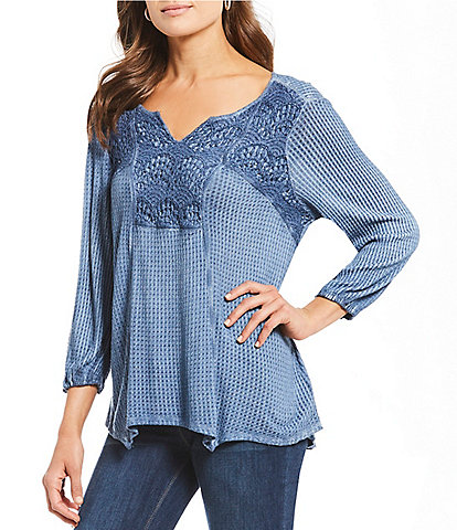 One World Apparel Split V-Neck Balloon Sleeve Lace Yoke Thermal Top