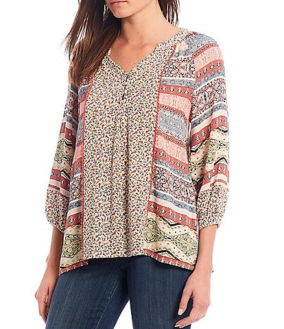 One World Apparel Twin Print Notch V-Neck 3/4 Bubble Sleeve Peasant Top