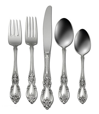 Oneida Louisiana Floral Fiddleback 5-Piece Stainless Steel Flatware