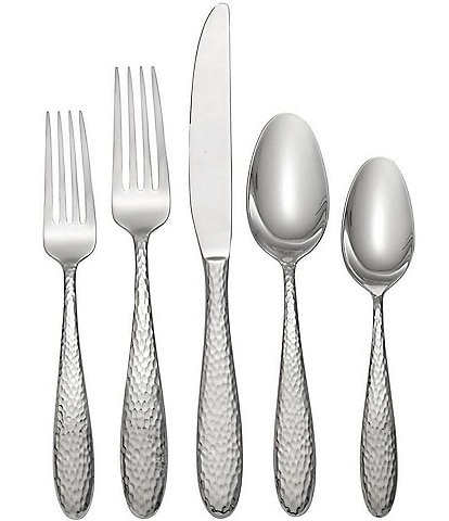 Oneida Reyna Hammered 45-Piece Stainless Steel Flatware Set