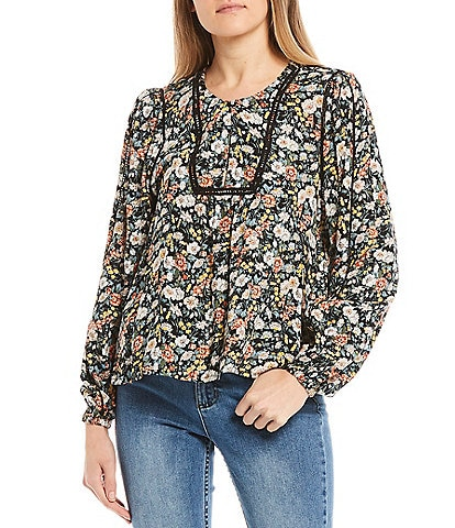 O'Neill Beachbelle Floral Print Inset Ladder Lace Detail Top