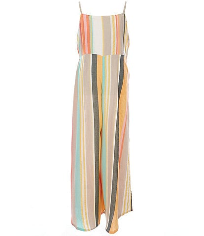 O'Neill Big Girls 5-14 Anabelle Striped Gaucho Jumpsuit