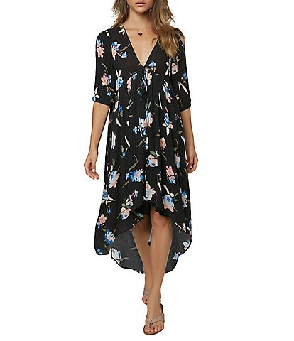 O'Neill Boyce 3/4 Sleeve Floral High-Low Dress