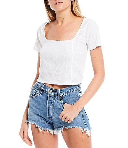 O'Neill Channing Short Sleeve Cropped Knit Top